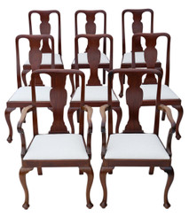 Antique set of 8 (6+2) Queen Anne revival mahogany high back dining chairs