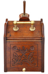 Antique quality Victorian walnut perdonium coal scuttle box or cabinet C1900