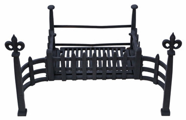 Antique style quality Gothic cast and forged grate with built in fire dogs