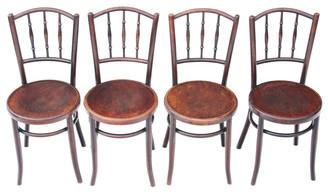 Antique set of 4 bentwood oak elm beech kitchen dining chairs