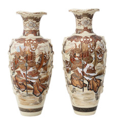 Antique large pair of Japanese Meiji period vases