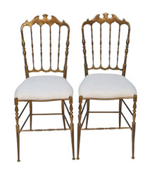 Antique pair of Italian brass bedroom hall or side chairs C1950