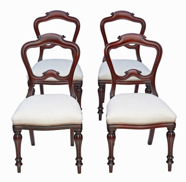 Antique quality set of 4 early Victorian mahogany dining chairs C1850