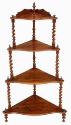 Antique Victorian 19C figured walnut corner whatnot shelves display