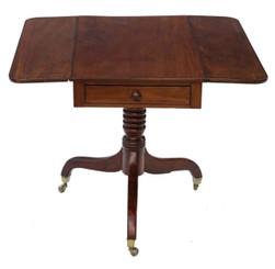 Antique Georgian Regency mahogany pedestal Pembroke or sofa table