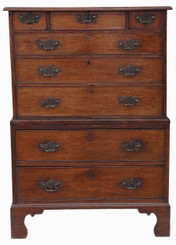Antique Georgian C1800 tallboy chest on chest of drawers small proportions