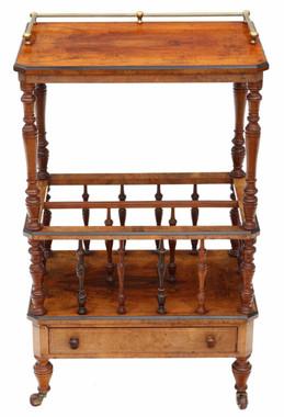 Antique quality Victorian Aesthetic C1880 inlaid mahogany Canterbury whatnot