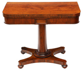Antique Victorian quality rosewood folding card tea console table C1850