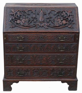 Antique Georgian C1800 carved oak bureau desk writing table