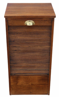 Antique mid 20th Century mahogany tambour fronted filing cabinet