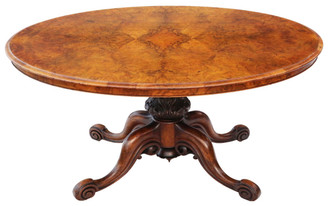 Antique fine quality Victorian burr walnut oval loo breakfast table tilt top