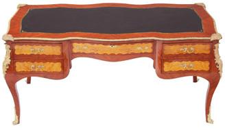Antique French bombe bureau plat kingwood maple desk writing table partners size