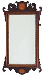 Antique Georgian revival inlaid mahogany fret cut wall mirror C1900