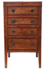 Antique Georgian C1820 inlaid mahogany washstand bedside table chest