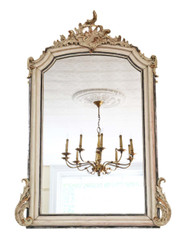 Antique large quality 19th Century French Rococo overmantle wall mirror