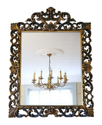 Antique large quality 19th Century Florentine gilt overmantle wall mirror