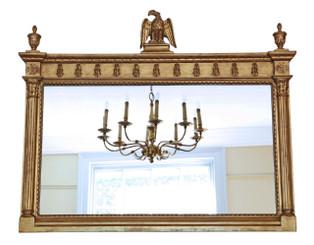 Antique large Georgian Regency revival reproduction gilt mirror