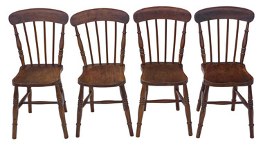 Antique set of 4 elm and beech early 20C kitchen dining chairs