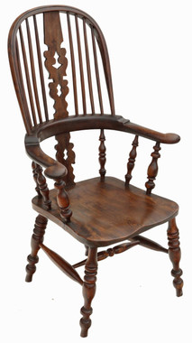Antique Victorian C1840 Yew & elm Windsor chair dining armchair