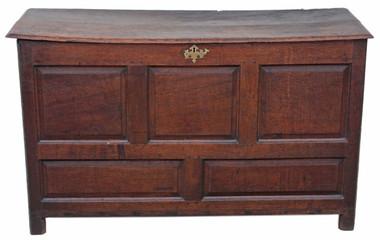 Antique large Georgian 18C oak chest coffer coffee table ottoman log basket