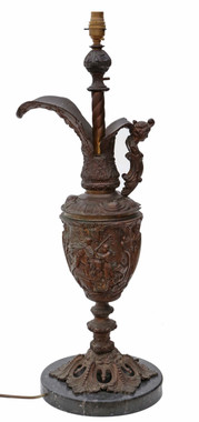 Antique large quality marble bronze and copper table lamp mid 20th Century