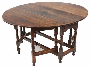 Antique large Georgian 18th Century oak gate leg drop leaf dining table