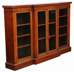 Antique large quality Victorian C1890 red walnut breakfront glazed bookcase