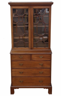 Antique fine quality Georgian revival mahogany glazed bookcase on chest