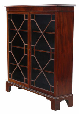 Antique fine quality Georgian revival mahogany glazed bookcase