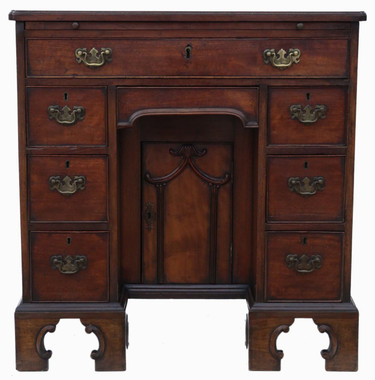 Antique quality Georgian mahogany pedestal desk writing side table C1800