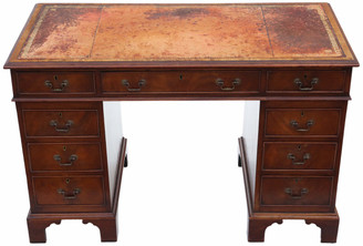 Antique quality Edwardian flame mahogany twin pedestal desk C1910