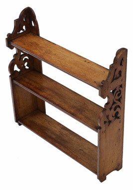 Antique quality late Victorian oak open bookcase C1890
