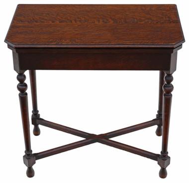 Antique top quality Georgian revival C1920 Maple & Co. oak folding card table