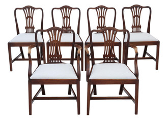 Antique quality set of 6 (4+2) mahogany Georgian revival dining chairs C1910