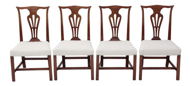 Antique quality set of 4 Georgian mahogany Chippendale style dining chairs C1800