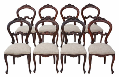 Antique quality set of 8 reproduction Victorian balloon back dining chairs