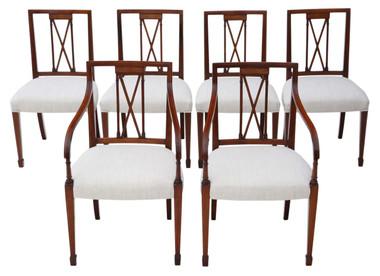 Antique set of 6 (4+2) reproduction Regency mahogany dining chairs Arthur Brett