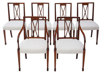 Antique set of 6 (4+2) reproduction Regency mahogany dining chairs Arthur Brett