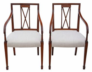Antique pair of reproduction Regency mahogany elbow chairs Arthur Brett carver