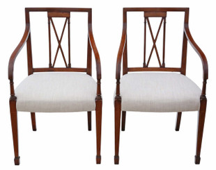 Antique pair of reproduction Regency mahogany elbow chairs Arthur Brett carver