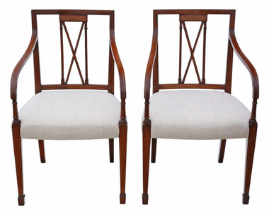 Antique pair of reproduction Regency mahogany carver elbow chairs Arthur Brett
