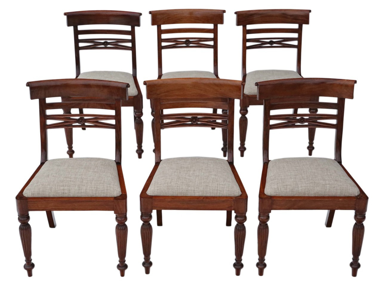 Antique Quality Set Of 6 Reproduction Regency Style Dining Chairs Prior Willis Antiques