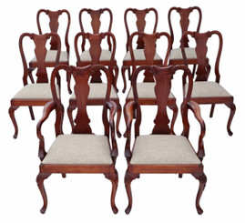 Antique quality set of 10 (8+2) reproduction Queen Anne style dining chairs
