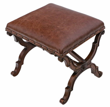 Antique rare quality Victorian walnut leather x-frame stool seat foot