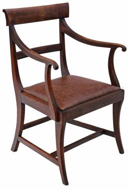 Antique quality Regency C1820-30 mahogany elbow desk carver chair