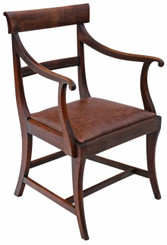 Antique quality Regency C1820-30 mahogany elbow desk carver chair