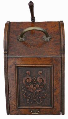 Antique quality carved Pollard oak perdonium coal scuttle box or cabinet C1905