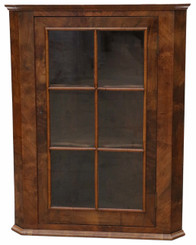 Antique quality Georgian C1800-1830 walnut glazed corner cupboard