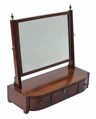 Antique Georgian mahogany dressing table swing mirror toilet