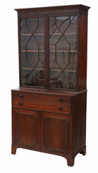 Antique Georgian mahogany secretaire bookcase desk writing